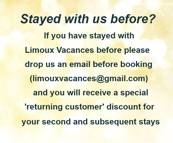 email for a discount if you've stayed with us before